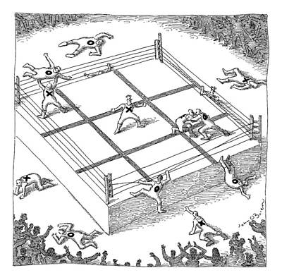 Wrestling Drawing - Wrestlers Wearing Bodysuits With X Or O Fight by John O'Brien