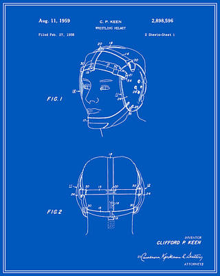 Athletic Digital Art - Wrestling Helmet Patent - Blueprint by Finlay McNevin