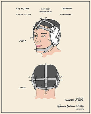 Athletic Digital Art - Wrestling Helmet Patent - Colour by Finlay McNevin