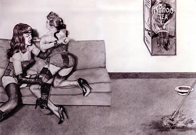 High Heels Art Drawing - Wrestling With 20thc Art #2 David Hockney's Typhoo Tea. by Richard Pike