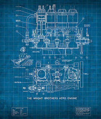 Wright Brothers Aero Engine Vintage Patent Blueprint Art Print
