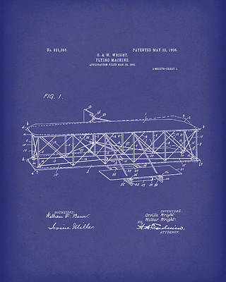Wire Drawing - Wright Brothers Flying Machine 1906 Patent Art Blue by Prior Art Design