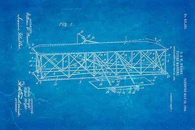 Wright Brothers Flying Machine Patent Art 1906 Blueprint Art Print by Ian Monk