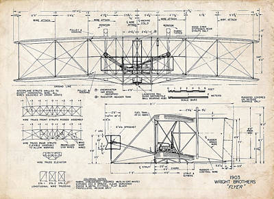 Flyers Drawing - Wright Flyer Art Drawing by Stephen Chambers