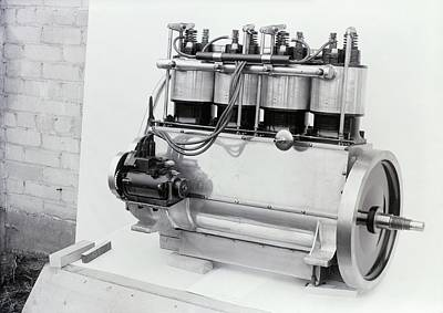 Ignition Photograph - Wright Vertical 4 Aircraft Engine by Library Of Congress