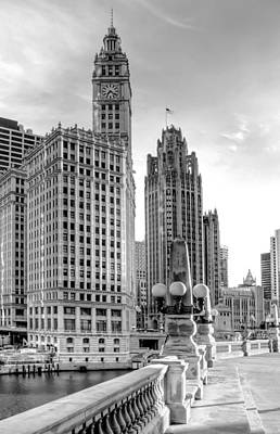 Clock Photograph - Wrigley And Tribune by Scott Norris