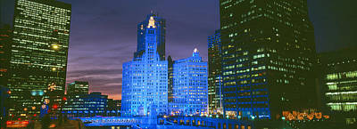Winter Light Photograph - Wrigley Building, Blue Lights, Chicago by Panoramic Images