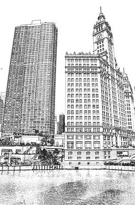 Chicago River Digital Art - Wrigley Clock Tower In Chicago by Dejan Jovanovic