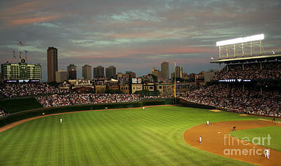 Wrigley Photograph - Wrigley Field At Dusk by John Gaffen