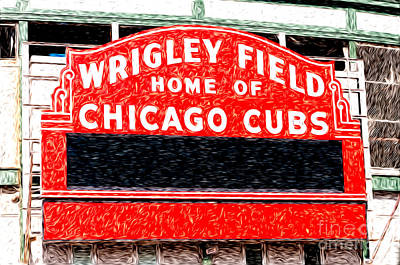 Wrigley Field Chicago Cubs Sign Digital Painting Art Print by Paul Velgos