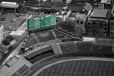 Wrigley Field Digital Art - Wrigley Field Chicago Sports 04 Selective Coloring by Thomas Woolworth