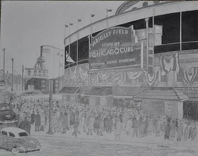 Wrigley Field Drawing - Wrigley Field by Dave Smith