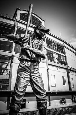 Sears Tower Photograph - Wrigley Field Ernie Banks Statue In Black And White by Paul Velgos