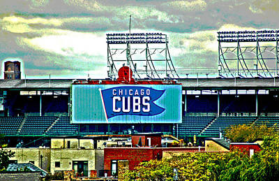 Digital Art - Wrigley Field Chicago Cubs by Ginger Wakem