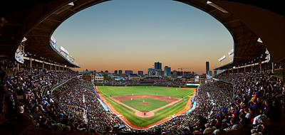 Baseball Fields Photograph - Wrigley Field Night Game Chicago by Steve Gadomski