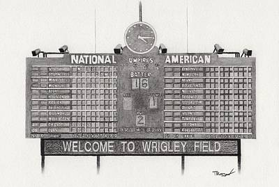 Wrigley Field Drawing - Wrigley Field Scoreboard by Tim Trojan