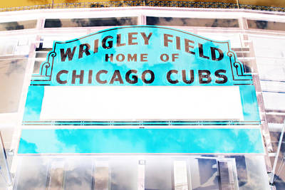 Lets Play Photograph - Wrigley Field Sign - X-ray by Stephen Stookey