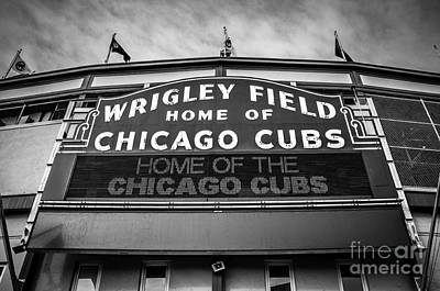 Wrigley Field Sign In Black And White Art Print by Paul Velgos