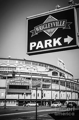 Wrigleyville Sign And Wrigley Field In Black And White Art Print