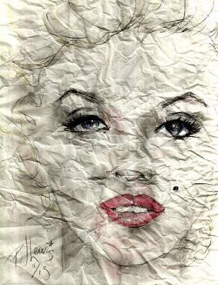 Marilyn Monroe Drawing - wrinckled Marilyn by P J Lewis