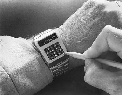 Part Of Photograph - Wristwatch Calculator by Underwood Archives