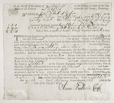 Debt Painting - Writ Of Debt, 1762 by Granger