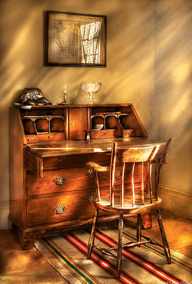 Photograph - Writer - A Chair And A Desk by Mike Savad
