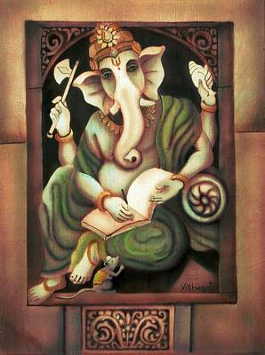 Painting - Writing Ganesh by Vishwajyoti Mohrhoff