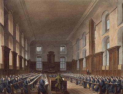 Bluecoat Drawing - Writing School, Christ Hospital by Frederick Mackenzie