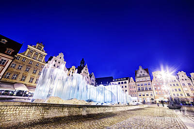 Monuments Photograph - Wroclaw Poland The Market Square And The Famous Fountain At Night by Michal Bednarek