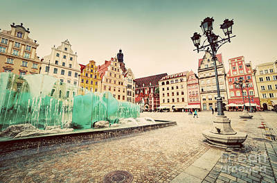 Mellow Yellow - Wroclaw Poland The market square with the famous fountain by Michal Bednarek