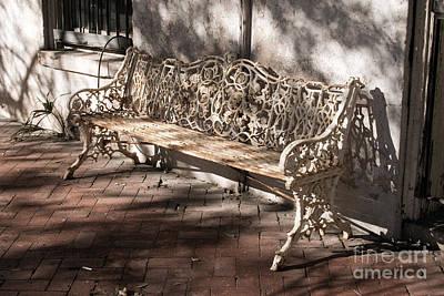 Wrought Iron Bench In White Art Print