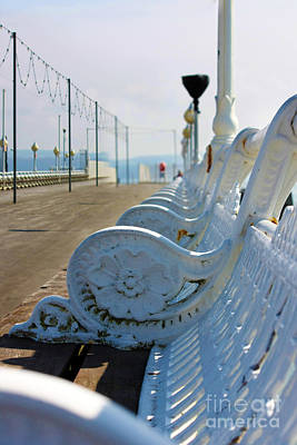 Photograph - Wrought Iron Benches Torquay Pier by Terri Waters