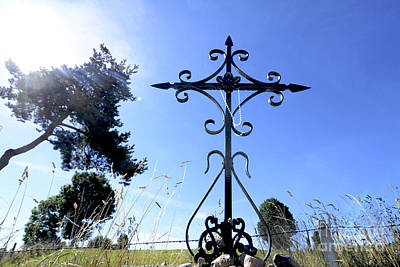 Wrought Iron Cross In Margeride. Haute Loire Art Print by Bernard Jaubert