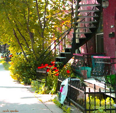 Montreal Memories Painting - Wrought Iron Fence Balcony And Staircases Verdun Stairs Summer Scenes Carole Spandau  by Carole Spandau