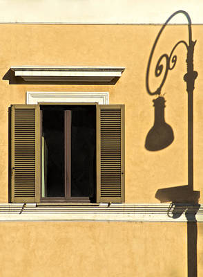 Photograph - Wrought Iron Street Lamp Shadow Of Ancient Rome by David Letts