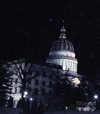 Photograph - Wv Capitol At Night by Sandy McIntire