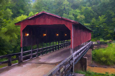 Digital Art - Wv Covered Bridge by Chris Flees