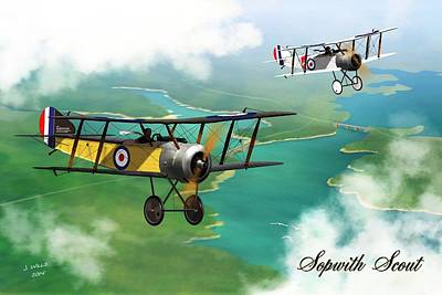Pup Digital Art - Ww1 British Sopwith Scout by John Wills