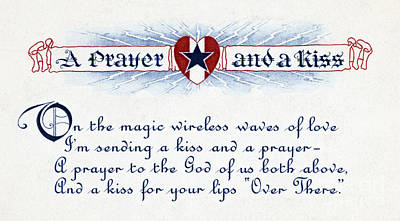 Wwi, A Prayer And A Kiss, Valentine Art Print