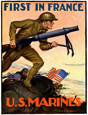 Painting - Wwi First In France Usmc by Historic Image