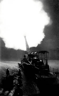 Photograph - Wwi French Railroad Gun At Night by Historic Image