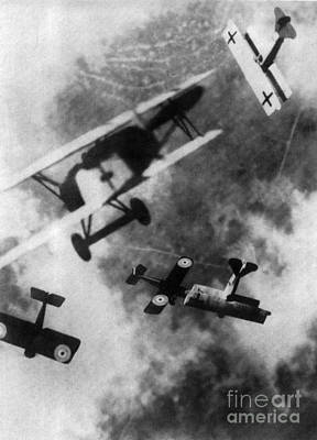 Photograph - Wwi German British Dogfight by Nypl