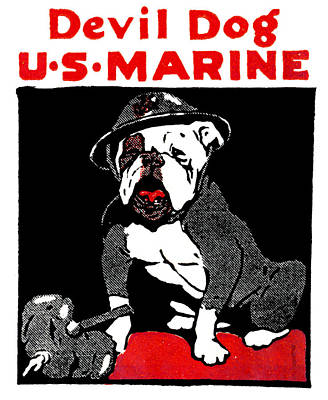 Corps Painting - Wwi Marine Corps Devil Dog by Historic Image