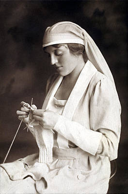 Photograph - Wwi Nurse Knitting Sweater For Pilot by Historic Image
