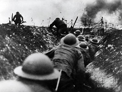 Infantryman Photograph - Wwi Over The Top Trench Warfare by Photo Researchers