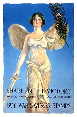 Share Painting - Vintage Saving Stamps Poster by Gary Bodnar