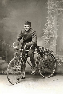 Doughboy Photograph - Wwi Us Army Bicyclist by Historic Image