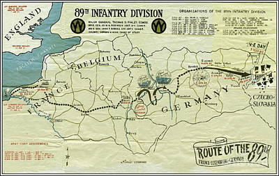 Mixed Media - Ww I I 89th Division Map Original by Marilyn Smith