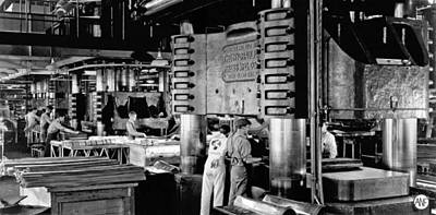 Factory Photograph - Wwii Aircraft Factory by Underwood Archives